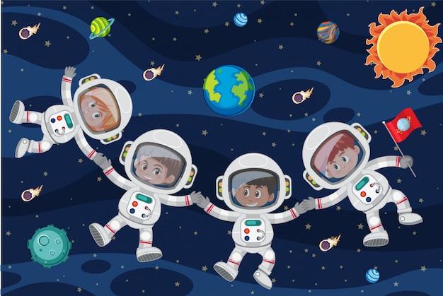 宇宙飛行中の宇宙飛行士 Premiumベクター