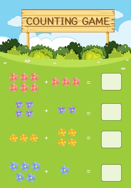 ゲームの花のコンセプトを数える Premiumベクター
