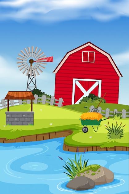 農村の農家 Premiumベクター