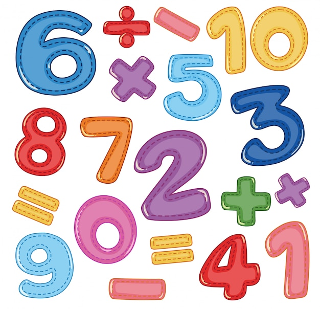 数と数学のアイコンのセット Premiumベクター
