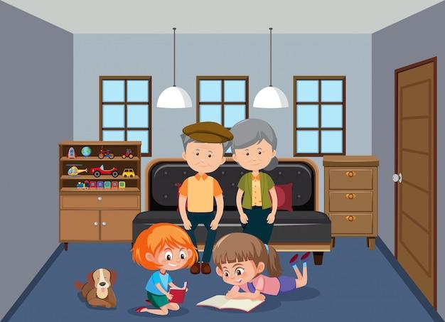Дедушка и внуки в гостиной Premium векторы