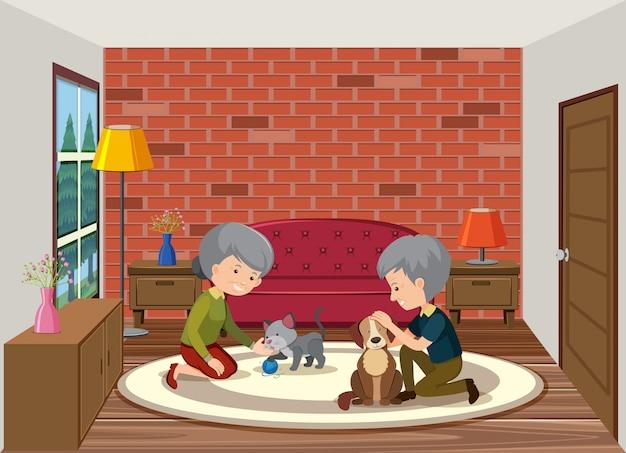 Старший пара играет с собакой Premium векторы
