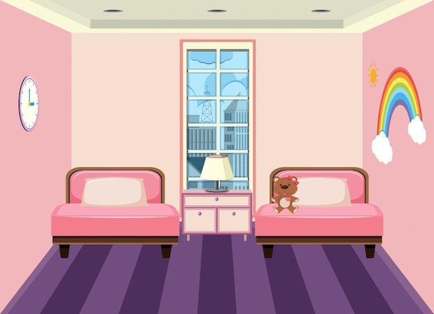 Интерьер детской спальни Premium векторы