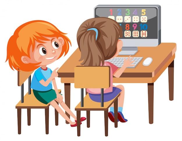 女の子コンピュータで数学を学ぶ Premiumベクター