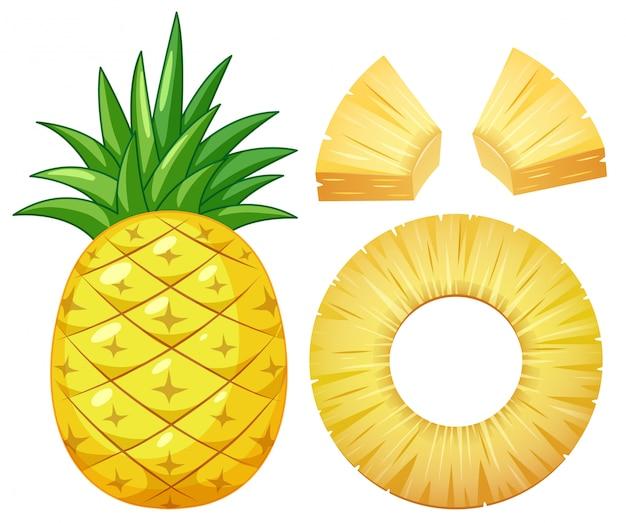 白い背景にパイナップル Premiumベクター