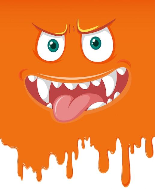 オレンジ色のモンスターの顔の滴り Premiumベクター