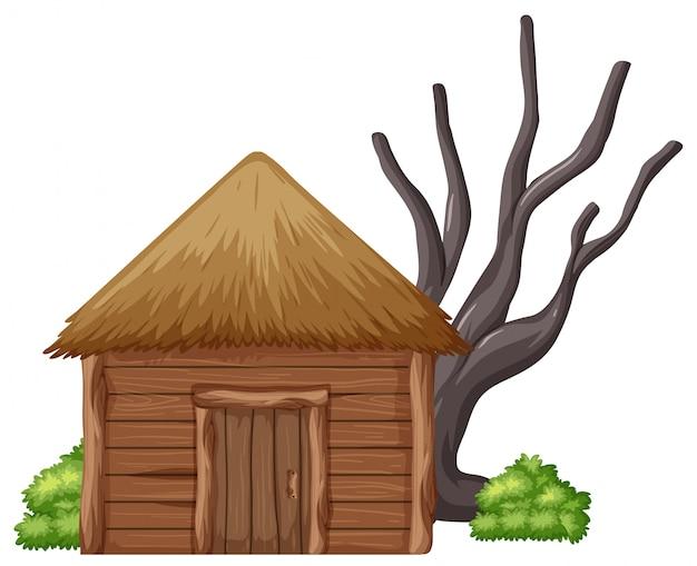 白い背景に隔離された木製の小屋 Premiumベクター