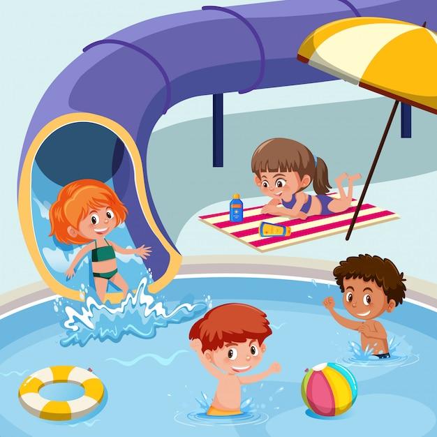 スイミングプールで遊ぶ子供たち Premiumベクター