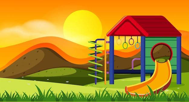 夕日の遊び場のスライド Premiumベクター
