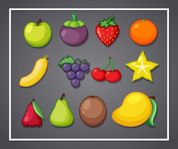 フレームのフルーツのセット Premiumベクター