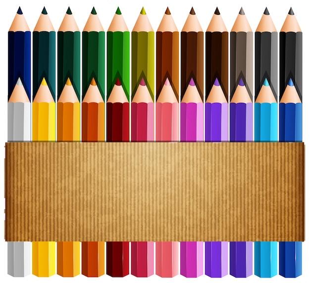 Картонная бумага поверх цветных карандашей Premium векторы