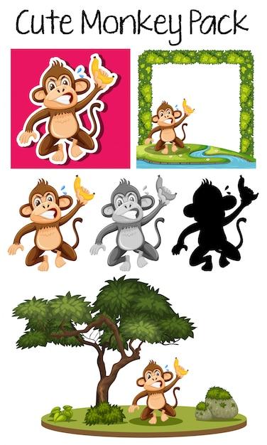 かわいい猿のパック Premiumベクター