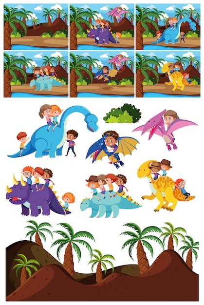恐竜キャラクターとシーンのセット Premiumベクター