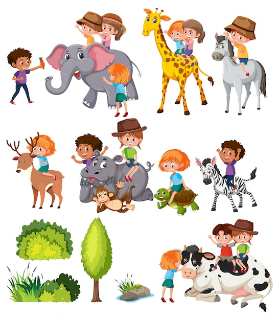 動物と子供たちのセット Premiumベクター