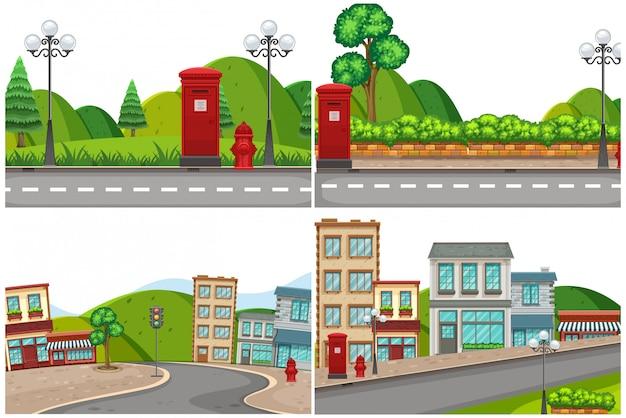 Множество городских дорог Premium векторы