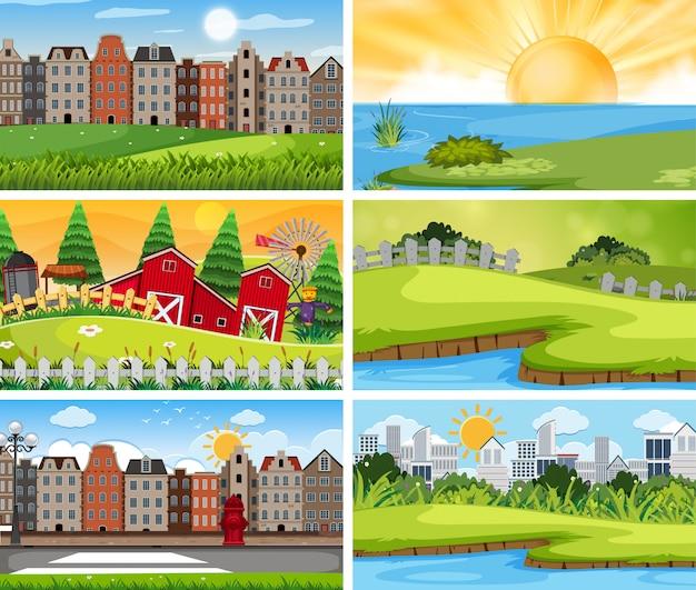 Набор городского и сельского пейзажа Premium векторы