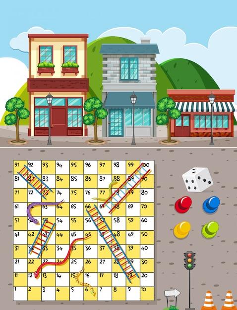 都市の背景にヘビとはしごゲーム Premiumベクター