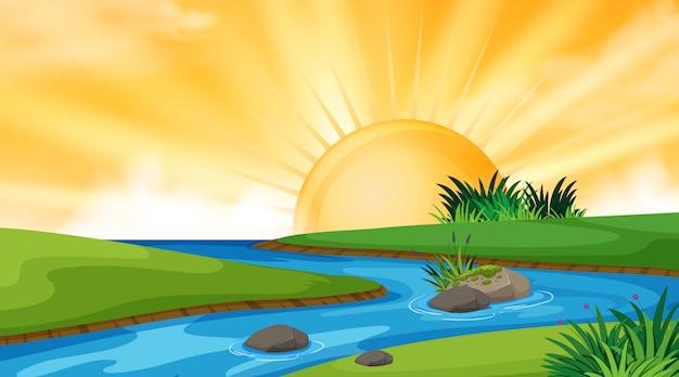 夕暮れ時の川の風景の背景デザイン Premiumベクター