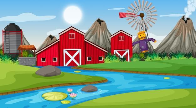 農場のある屋外シーン Premiumベクター