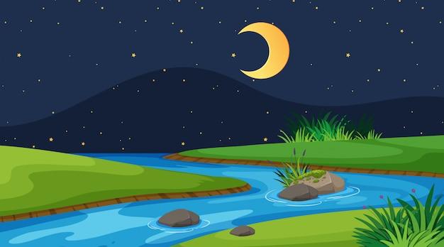 夜の川の風景の背景 Premiumベクター