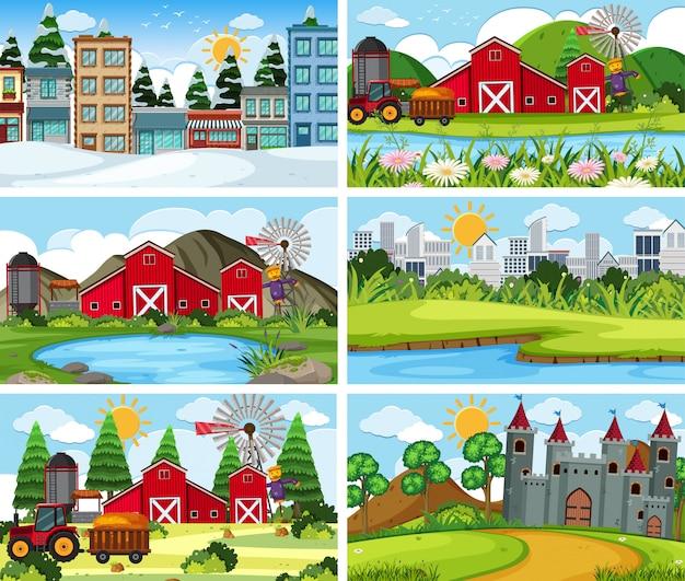 農地を含む屋外シーンのセット Premiumベクター