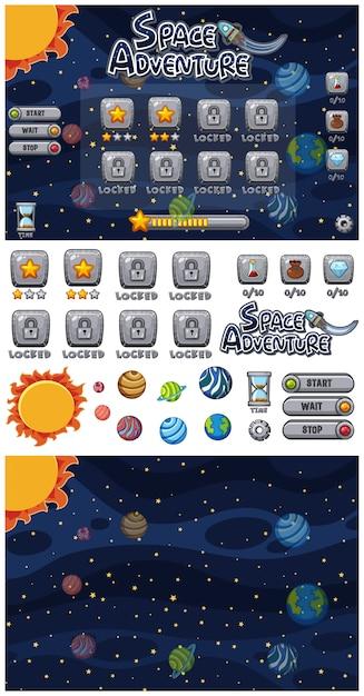 宇宙の惑星と宇宙アドベンチャーゲームのセット Premiumベクター