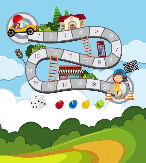 レーシングカーで子供とボードゲームテンプレート Premiumベクター