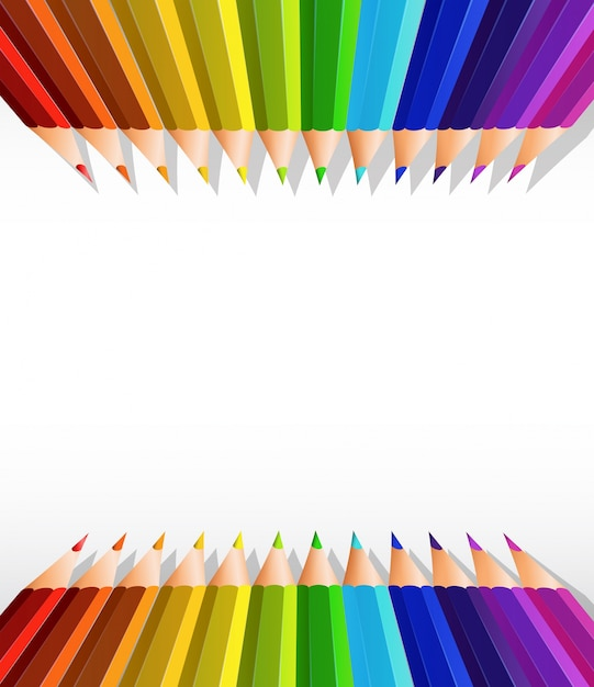 Пустой бумажный шаблон с цветными карандашами сверху и снизу Premium векторы
