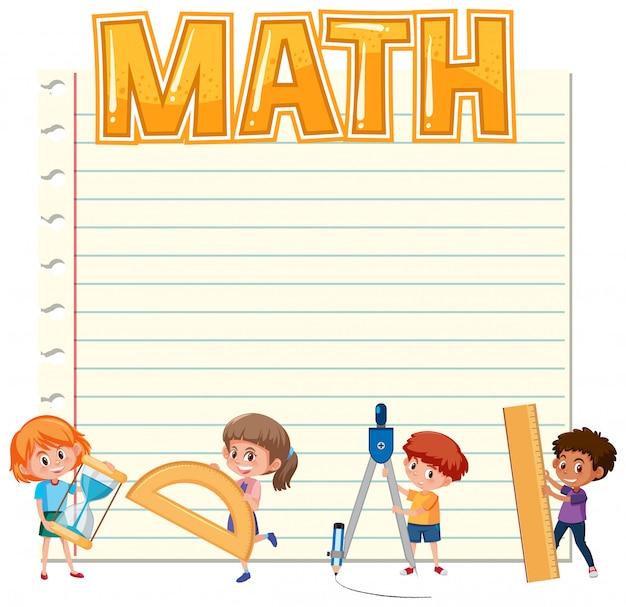 子供と数学機器を備えた白紙 Premiumベクター