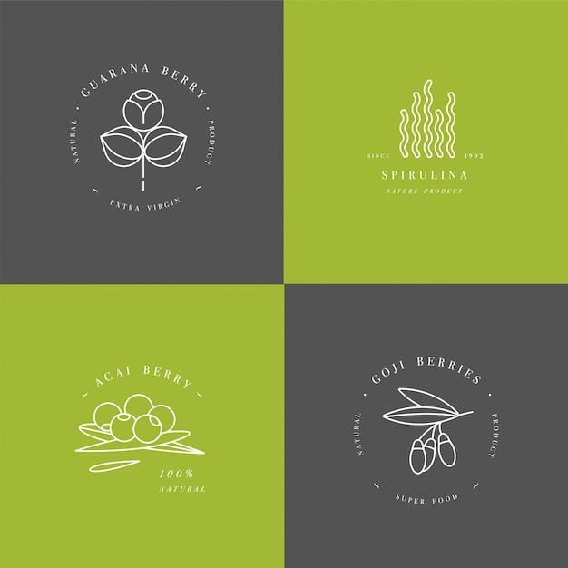 Здоровый эко еда логотип шаблон Premium векторы