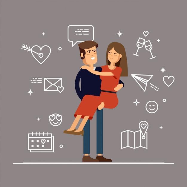 Влюбленная пара. мужчина и женщина ласково обнимают друг друга и держат девушку на руках. Premium векторы