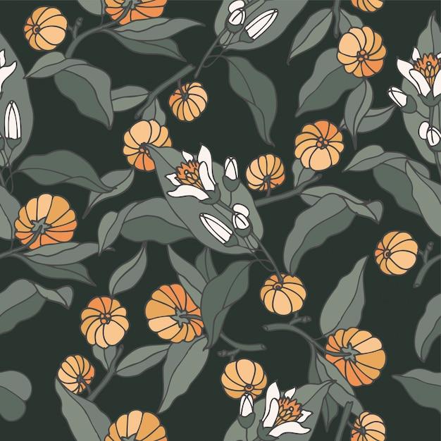 Иллюстрация цитрусовых бергамия филиал - винтажный стиль гравировка. безшовная картина в ретро ботаническом стиле. Premium векторы