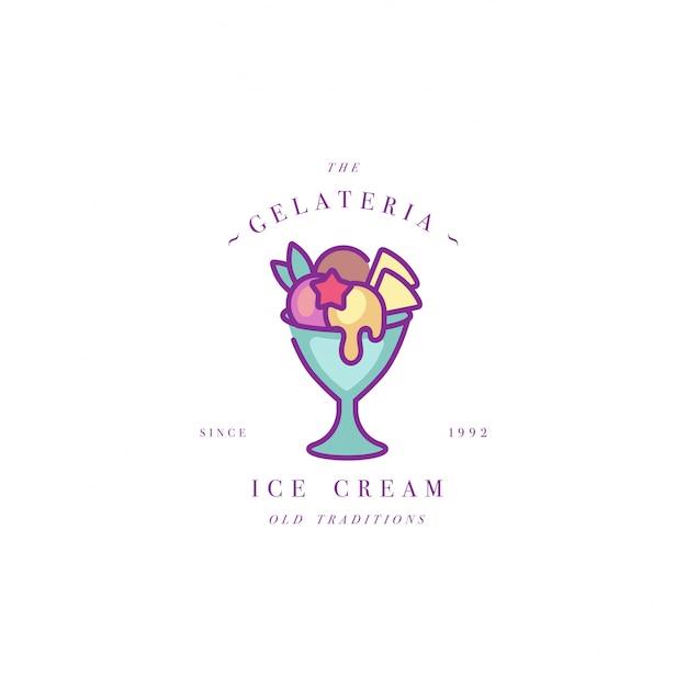 Красочный шаблон логотипа или эмблемы - мороженое, мороженое. значок мороженого. логотип в модном линейном стиле на белом фоне. Premium векторы