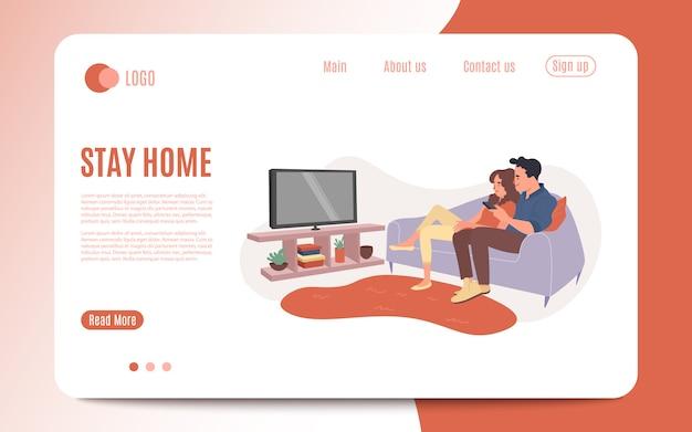 Молодая пара смотреть телевизор вместе. счастливый мужчина и женщина, сидя на диване и смотреть телевизионные шоу. семейный киносеанс, любители характера дома отдыхают и смотрят видео. иллюстрация Premium векторы
