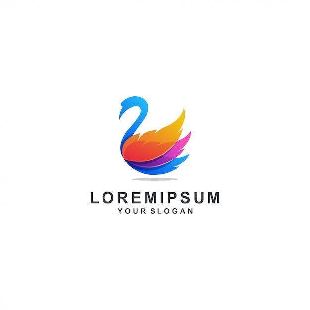 Красочный логотип лебедя Premium векторы