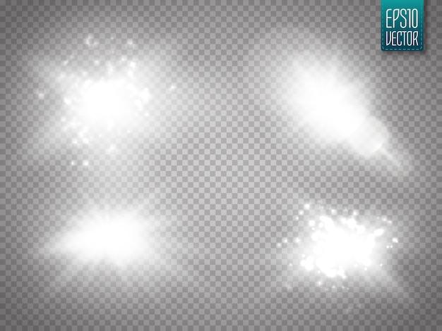 レンズフレアが分離されました。ベクトルイラスト。輝く星明かりの輝く光の効果 Premiumベクター