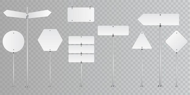 透明に分離された空白の道路標識のセット。 Premiumベクター