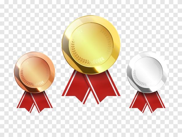 Набор золотых, серебряных и бронзовых наградных медалей, изолированных на прозрачном Premium векторы
