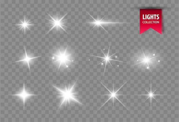 Блеск светящихся звезд. Premium векторы