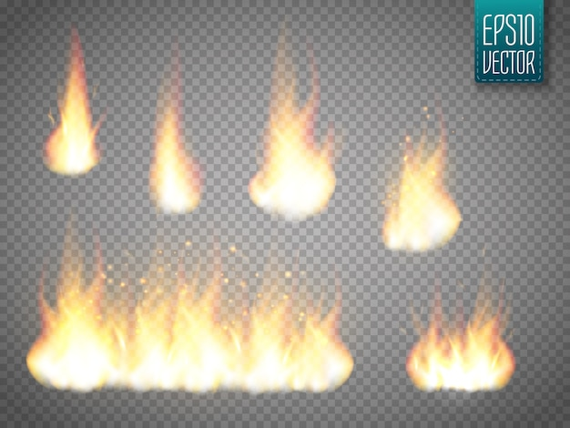 透明に分離されたベクトル火炎のセット Premiumベクター