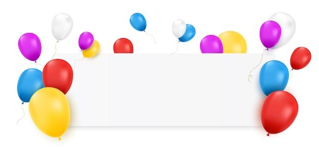 Пустой баннер с цветные шары и конфетти изолированы. Premium векторы