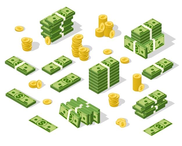 Изометрические деньги изолированы. иллюстрация золотых монет и бумажных долларов Premium векторы