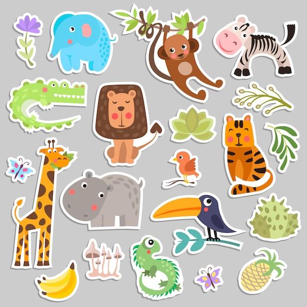 Милый набор саванны и сафари смешной мультфильм наклейки животных и цветов. Premium векторы