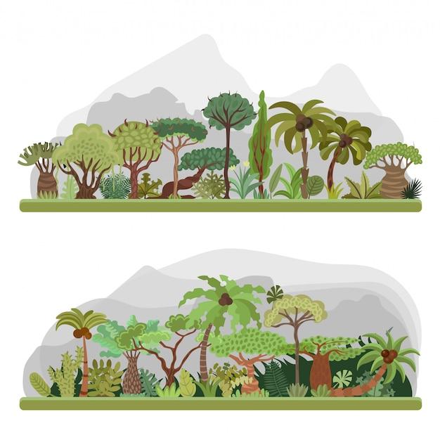 Коллекция деревьев джунглей, плоская иллюстрация с пальмами, тропическим лесом, элементами тропических джунглей. Premium векторы