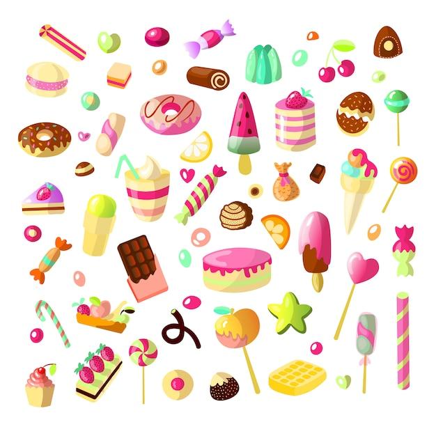 白い背景の上の漫画の甘いお菓子のセット。ケーキ、ゼリー、チョコレート、キャンディーのコレクション。 Premiumベクター