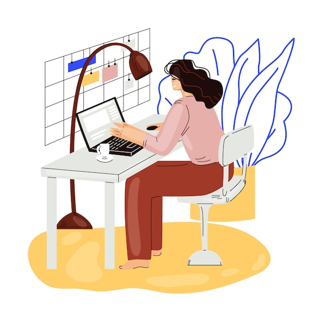 Внештатный женщина работа в уютной уютной домашней квартире плоской иллюстрации. фрилансер девушка персонаж работает из дома в расслабленном темпе, самозанятая концепция Premium векторы