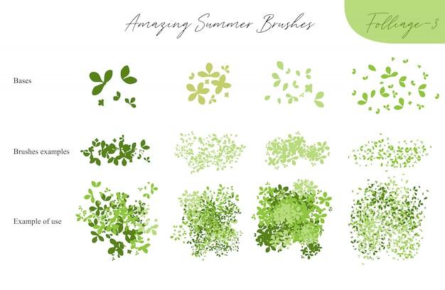 夏ベクトル葉生態ブラシ-夏のシルエットの葉、木の葉、白、ベクトルイラストブラシ自然コレクションに分離されたさまざまな緑の種類のセット Premiumベクター