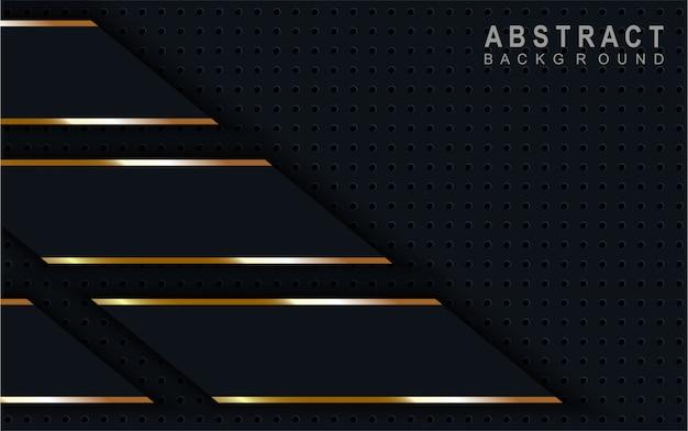 ゴールデンラインの抽象的な暗い青色の背景。 Premiumベクター