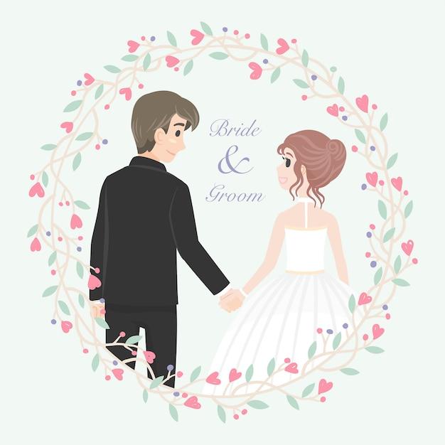 花柄フレームと結婚式のカップルの文字 Premiumベクター
