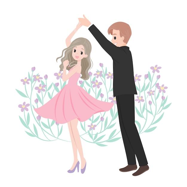 踊る結婚カップルの漫画のキャラクター Premiumベクター